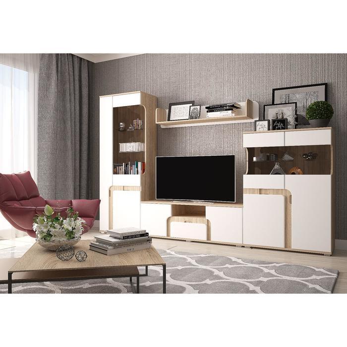 Гостиная «Марсель», 260х36х185 см МДФ, цвет сонома/белый глянец