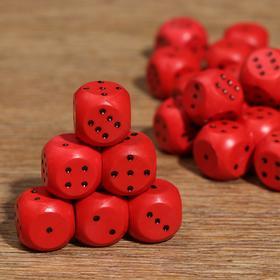 Кубик игральный 1.5х1.5х1.5 см, цветной, красные Ош