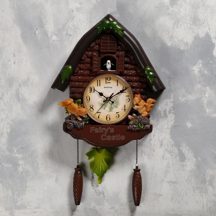Часы настенные с кукушкой Белочки, плавный ход, 53х7х35 см, коричневые
