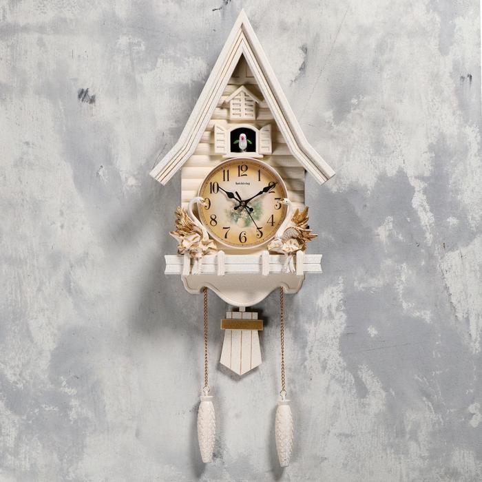 Часы настенные с кукушкой Лебеди, плавный ход, 63х8х32 см, белые