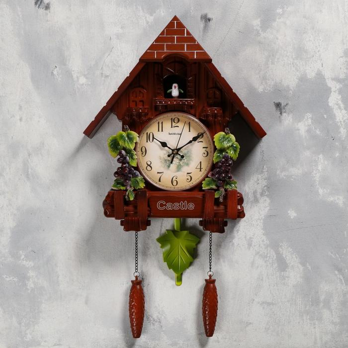 Часы настенные с кукушкой Виноградная лоза, плавный ход, 63х10х36 см, коричневые