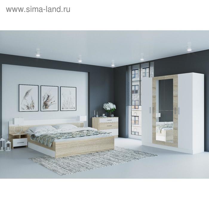 Спальня «Леси», кровать 160х200 см, 2 тумбы, комод, сонома/белый, шкаф, цвет белый/сонома