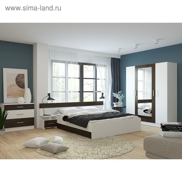 Спальня «Леси», кровать 160х200 см, 2 тумбы, комод, шкаф с зеркалом, цвет белый/кантербери