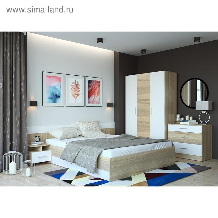 Спальня «Леси», кровать 160х200 см, 2 тумбы, комод сонома/белый, шкаф сонома/белый