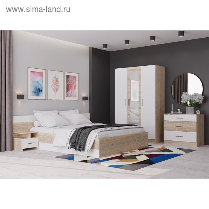 Спальня «Леси», кровать 160х200 см, 2 тумбы, комод, шкаф с зеркалом сонома/белый