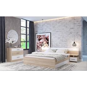 Спальня «Леси», кровать 160х200 см, 2 тумбы, комод, цвет сонома/белый Ош
