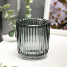 """Подсвечник стекло на 1 свечу """"Гофре"""" прозрачный зеленый 7,5х7,4х7,4 см"""