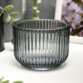 """Подсвечник стекло на 1 свечу """"Гофре"""" прозрачный зелёный 7,5х10,5х10,5 см"""
