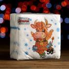 """Салфетки бумажные Гармония цвета многоцветие """"Новогодняя коровка"""", 24*24 см 50 листов"""