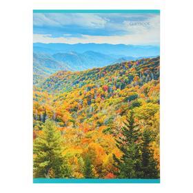 """Тетрадь А4, 48 листов в клетку """"Осенний пейзаж"""", обложка картон хром-эрзац, 2 блок 60 г/м2"""