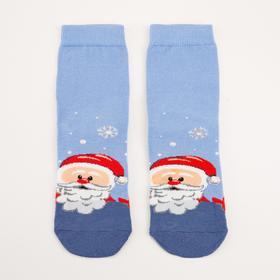 Носки детские с плюшевым следом, цвет голубой, размер 22-24