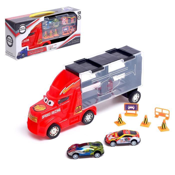 Гараж детский Грузовик. Перевозчик, 2 металлические машинки и дорожные знаки в комплекте