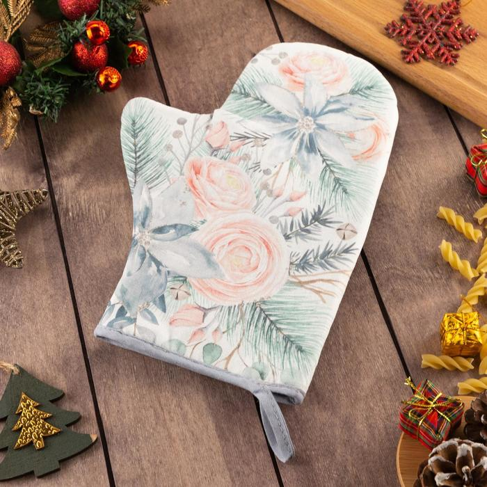 "Варежка-прихватка ""Christmas flowers"" 20х28см, саржа, 100% х/л, ватин 250г/м2"