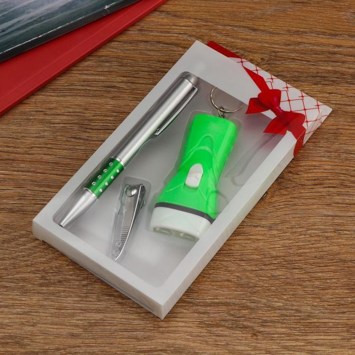 Набор подарочный 3в1 ручка, фонарик, кусачки , микс