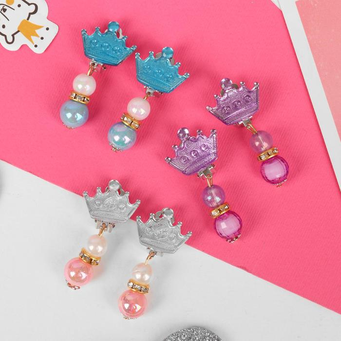 Клипсы детские Выбражулька корона с бусинами, цвет МИКС
