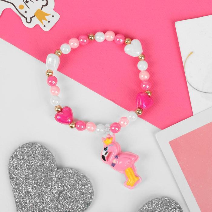 """Браслет детский """"Выбражулька"""" фламинго, цвет бело-розовый"""