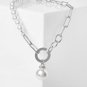 Колье жемчуг 'Цепь' дабл, цвет белый в серебре, 40 см Ош
