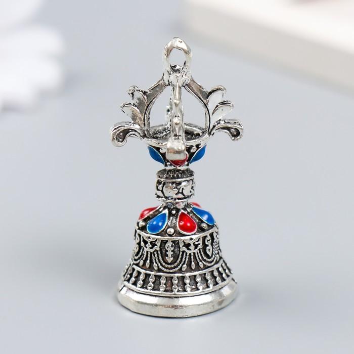 Колокольчик металл Колокол императора с цветными камешками d2,7 см 5х2,7х2,7 см