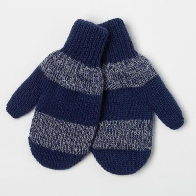 Варежки для мальчика, цвет серый/синий, размер 12