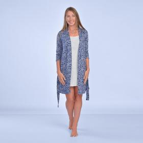 Комплект женский (халат, сорочка) «Осень» цвет индиго/белый, размер 50
