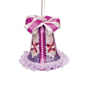 Колокольчик новогодний из пайеток, фиолетовый