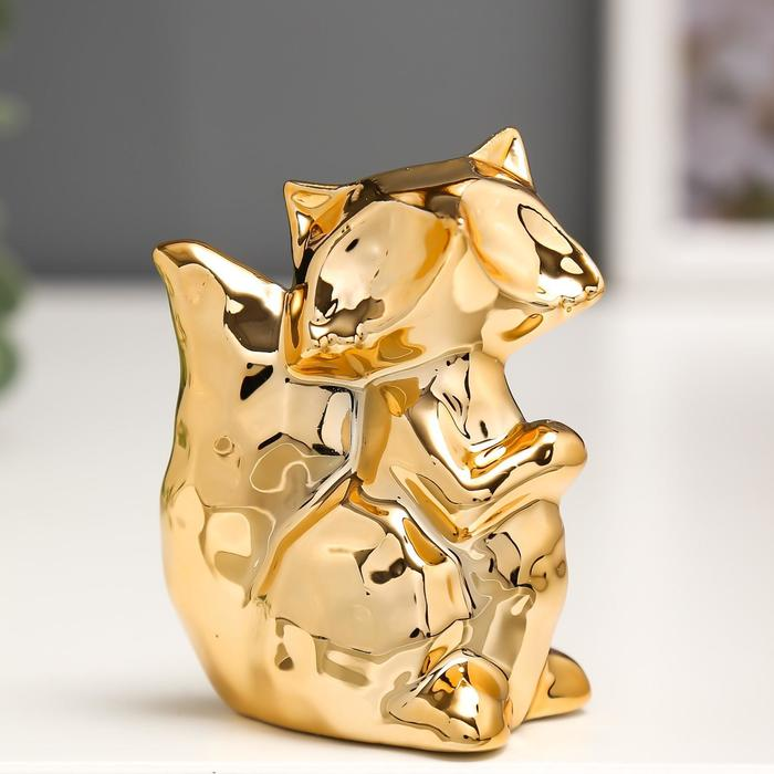 Сувенир керамика Лисёнок золото 7,2х5,5х3,5 см