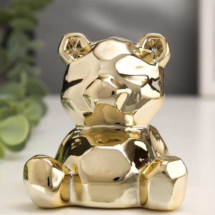 Сувенир керамика Медвежонок золото 8х7х7,5 см
