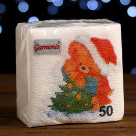 """Новогодние салфетки бумажные Гармония цвета многоцветие """"Медвежонок"""", 24*24 см 50 листов"""