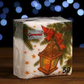 """Новогодние салфетки бумажные Гармония цвета многоцветие """"Фонарик"""", 24*24 см 50 листов"""