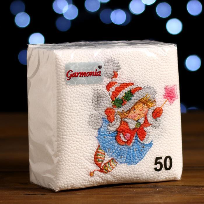 Новогодние салфетки бумажные Гармония цвета многоцветие Зимняя фея, 2424 см 50 листов