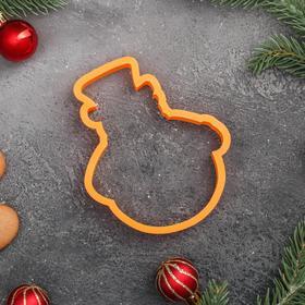 Форма для пряников «Снеговик в шляпе», цвет оранжевый