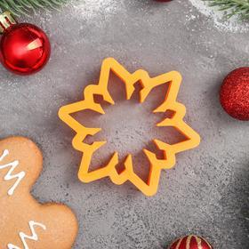 Форма для пряников Lubimova «Снежинка», 7 см, цвет оранжевый