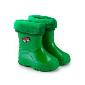 Сапоги детские, цвет зелёный/машинки, размер 23
