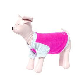 Толстовка Osso для собак, велюр, размер 22 (ДС 22, ОГ 32-34 см), розовая Ош