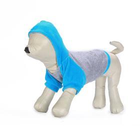 Толстовка с капюшоном Osso для собак, велюр, размер 25 (ДС 25, ОГ 35-37 см), бирюзовая Ош