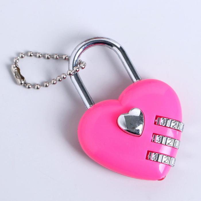 Прикол-шокер Сердце с замочком, фонарик, цвета МИКС