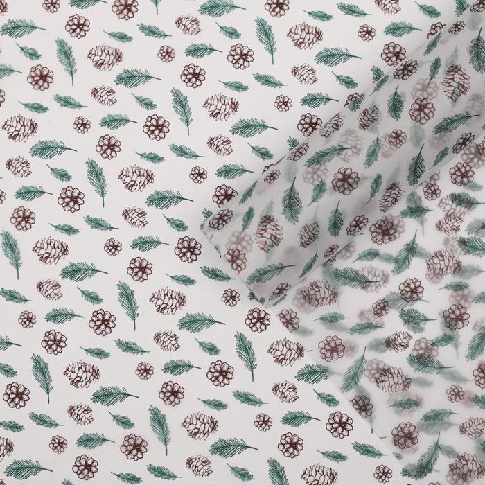Бумага упаковочная тишью Шишки, 50 70 см