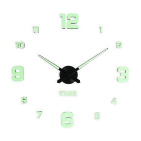 Часы-наклейка светящиеся, стрелки 22,5 см, 16.5 см, 1АА, плавный ход Ош