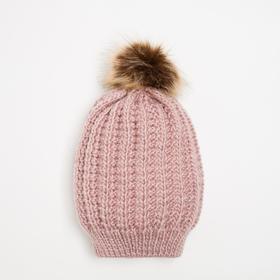 Шапка женская HB15099_5 цвет розовый, р-р 52-54