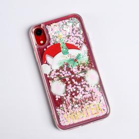 Чехол - шейкер для телефона iPhone XR «Новогодний единорог», 7,6 х 15,1 см