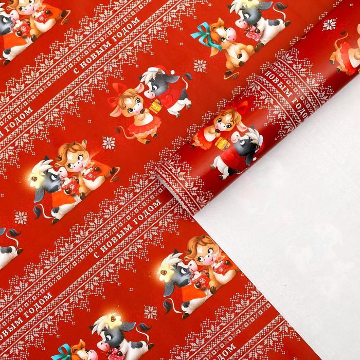 Бумага упаковочная глянцевая «Любовь греет», 50 х 70 см
