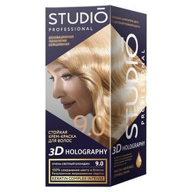 Комплект для окрашивания волос Studio Professional 3D Holography, тон 9.0 очень светлый блондин