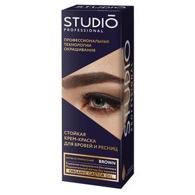 Комплект для окрашивания бровей и ресниц Studio Professional Volume Up, коричневый