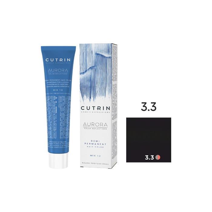 Крем-краситель для окрашивания волос Cutrin Aurora Demi Permanent, тон 3.3 тёмно-золотистый коричневый, 60 мл