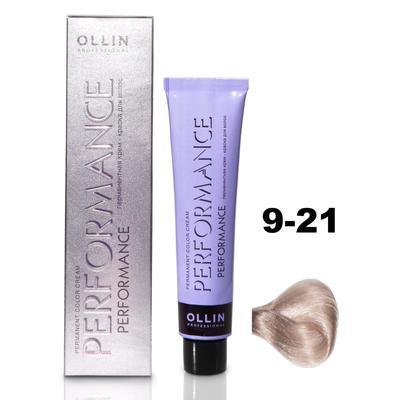 Крем-краска для окрашивания волос Ollin Professional Performance, тон 9/21 блондин фиолетово-пепельный, 60 мл - Фото 1
