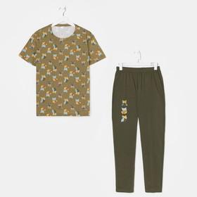 Комплект (футболка, брюки) женский, цвет хаки/совята, размер 50