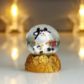 Сувенир полистоун водяной шар 'Бычок в пенсне, на монетах' 6,5х4,5х4,5 см Ош