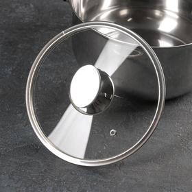 Крышка стеклянная с металлическим ободом, d=20 см, с овальной ручкой