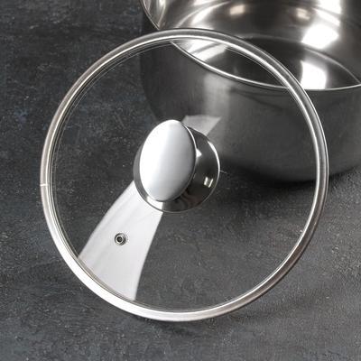 Крышка для сковороды и кастрюли стеклянная, d=22 см, с металлическим ободом, с овальной ручкой - Фото 1