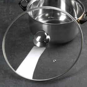 Крышка для сковороды и кастрюли стеклянная TimA, d=32 см, с металлическим ободом, с круглой ручкой